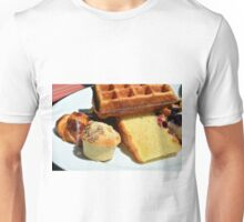 Plate with sweet pastry: waffles, cakes, croissant. Unisex T-Shirt