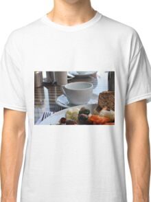 Lunch with pasta, bread, vegetables and coffee cup. Classic T-Shirt