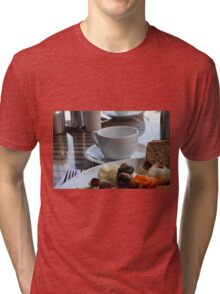 Lunch with pasta, bread, vegetables and coffee cup. Tri-blend T-Shirt