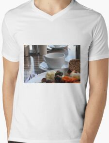 Lunch with pasta, bread, vegetables and coffee cup. Mens V-Neck T-Shirt