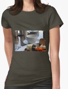 Lunch with pasta, bread, vegetables and coffee cup. Womens Fitted T-Shirt