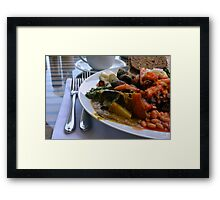 Healthy lunch with beans, vegetables, pasta. Framed Print
