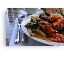 Healthy lunch with beans, vegetables, pasta. Canvas Print