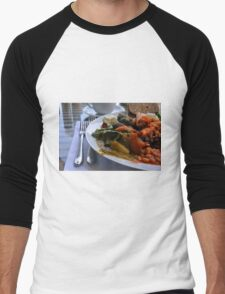 Healthy lunch with beans, vegetables, pasta. Men's Baseball ¾ T-Shirt