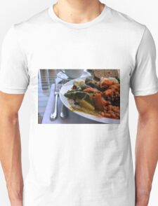 Healthy lunch with beans, vegetables, pasta. Unisex T-Shirt