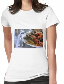 Healthy lunch with beans, vegetables, pasta. Womens Fitted T-Shirt