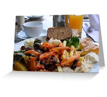 Lunch with pasta, bread, vegetables and orange juice. Greeting Card