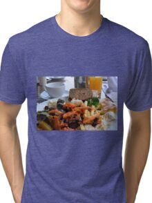 Lunch with pasta, bread, vegetables and orange juice. Tri-blend T-Shirt