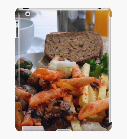 Lunch with pasta, bread, vegetables and orange juice. iPad Case/Skin