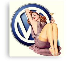 VW Retro pin up Girl Canvas Print