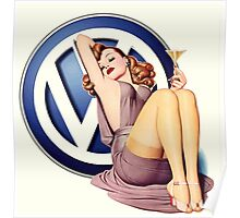 VW Retro pin up Girl Poster
