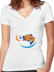 Barramundi Jumping Helicopter Retro Women's Fitted V-Neck T-Shirt