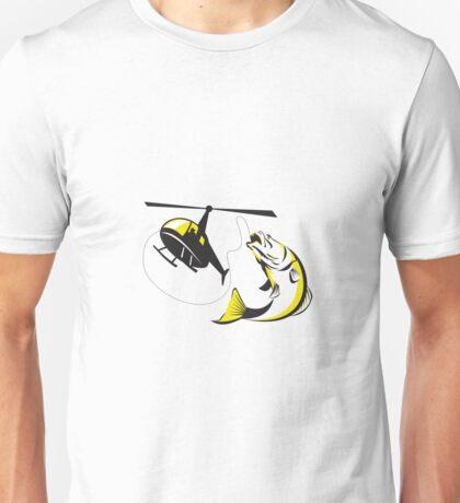 Barramundi Heli Fishing Retro Unisex T-Shirt