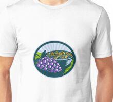 Grapes Raisins Bowl Oval Woodcut Unisex T-Shirt
