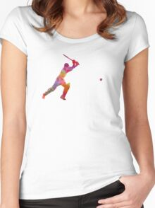 Cricket player batsman silhouette 04 Women's Fitted Scoop T-Shirt