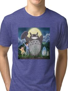 Totoro and family Tri-blend T-Shirt