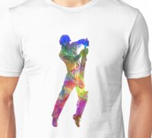 Cricket player batsman silhouette 05 Unisex T-Shirt