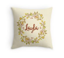 Layla lovely name and floral bouquet wreath Throw Pillow
