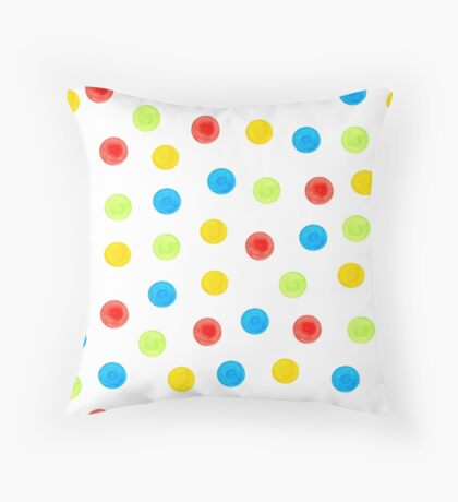 Watercolor seamless pattern of blue, yellow, green and red circles randomly distributed Throw Pillow