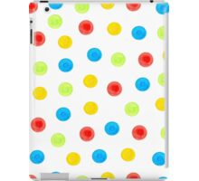 Watercolor seamless pattern of blue, yellow, green and red circles randomly distributed iPad Case/Skin