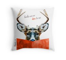 """Books are so deer to me"" - Animal Booklove Throw Pillow"