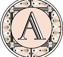 1920s Pink Champagne Gatsby Monogram letter A by CecelyBloom