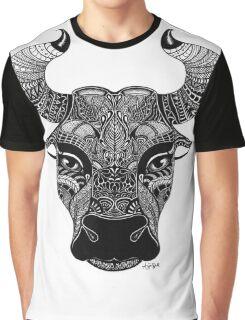 Taurus Bull Black and White Illustration Graphic T-Shirt