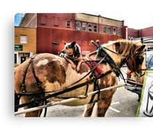 """Smart Dog: Lets the Horse Do All the Walkin'""... prints and products Canvas Print"
