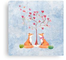 Foxes under a love tree Canvas Print