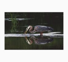 Great Blue Heron catches fish One Piece - Short Sleeve