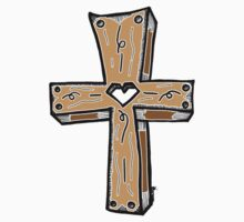 Wooden Cross - BLUE! Baby Tee