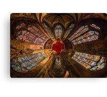 Leaded panes of Sainte George church of Selestat, little planet panoramic effect, space curvature Canvas Print