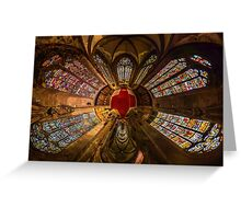Leaded panes of Sainte George church of Selestat, little planet panoramic effect, space curvature Greeting Card