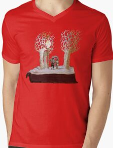 Tumnus and Lucy Narnia book sculpture Mens V-Neck T-Shirt