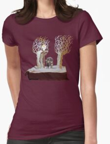 Tumnus and Lucy Narnia book sculpture Womens Fitted T-Shirt