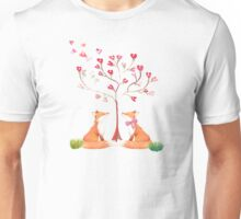 Foxes under a love tree Unisex T-Shirt