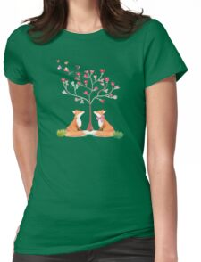 Foxes under a love tree Womens Fitted T-Shirt