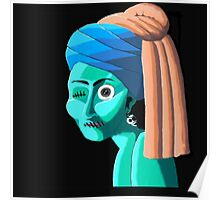 Zombie Girl with a Pearl Earring Poster