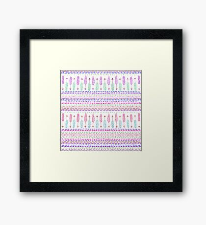 Colorful Boho Tribal Aztec Feather Arrows Pattern Framed Print