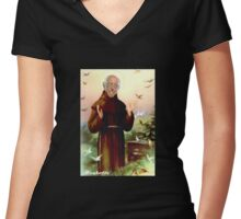 St. Bernie of Assisi Women's Fitted V-Neck T-Shirt