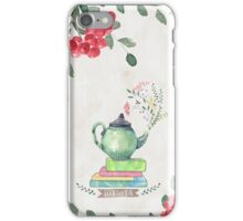 Books & Tea Watercolor iPhone Case/Skin