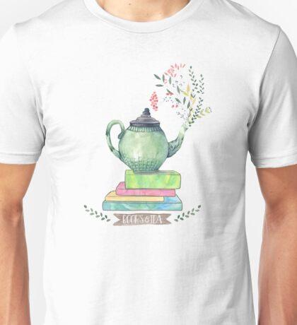Books & Tea Watercolor Unisex T-Shirt