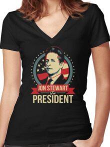 jon stewart president Women's Fitted V-Neck T-Shirt