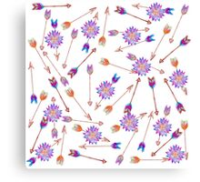 Boho Watercolor Hand Painted Flower and Arrows Canvas Print