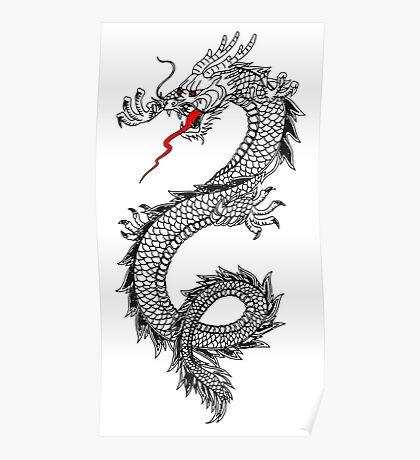 DRAGON, Cinese, Tattoo, Snake, Oriental, Far East, Tattoo, on White Poster