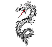 Dragon, Snake, Oriental, Far East, Tattoo, on White Photographic Print