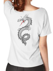 DRAGON, Cinese, Tattoo, Snake, Oriental, Far East, Tattoo, on White Women's Relaxed Fit T-Shirt