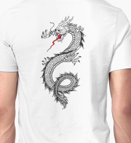 DRAGON, Cinese, Tattoo, Snake, Oriental, Far East, Tattoo, on White Unisex T-Shirt