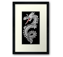 Dragon, Snake, Oriental, Far East, on Black Framed Print