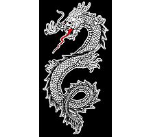 Dragon, Snake, Oriental, Far East, on Black Photographic Print